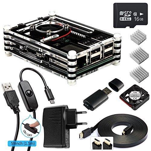 Smraza-Raspberry-Pi-3-Kit-Starter-Set-fr-Raspberry-Pi-3-Gehuse-mit-Netzteil-3x-Khlkrper-Lfter-und-Micro-SD-Karte-Kompatibel-mit-Raspberry-Pi-3-Case-Ohne-NOOBS-System