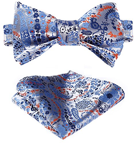 Orange Silk Bow Tie (HISDERN Men's Paisley Jacquard Self Bow Tie Set One Size Blue / Orange)