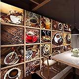 Lvabc Benutzerdefinierte WandbildKaffeebohnen Kaffeetasse 3D Foto Tapete Cafe Restaurant Wohnzimmer Küche Dekorative Tapete-350X250Cm