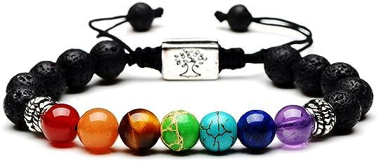 Rivertree Jewellery Armband mit Lavastein und Perlen, 7Chakren-Edelsteine, mit geflochtenem Seil, Unisex, 8mm