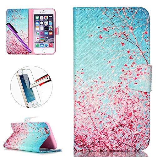 iPhone 6S Plus Portefeuille Coque, iPhone 6Plus Coque en cuir, Apple iPhone 6Plus 6S Plus Paillettes Coque, CE fait à la main Bling Diamants Papillon en relief de pissenlit PU Cuir avec Support, poi P-Pink Flowers