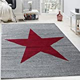 Paco Home Designer Teppich Stern Muster Modern Trendig Kurzflor Meliert In Rot Grau, Grösse:120x170 cm