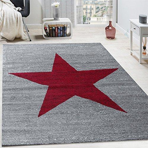 Tappeto di design motivo stella moderno di tendenza pelo corto mélange in rosso grigio, dimensione:120x170 cm