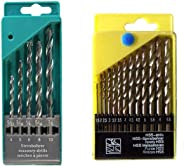 DeoDap Drill Bit Set of 13 for Wood, Malleable Iron, Aluminium, Plastic and Masonry with Set of 5 Pieces for Concrete and Br