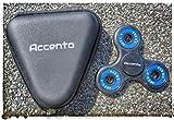 Accento Fidget Spinner Toy, Marca Prémium Con Funda Triangular, Gira Durante 4 Minutos, Juguete Antiestrés Para Niños & Adultos (Negro & Azul Brillante)