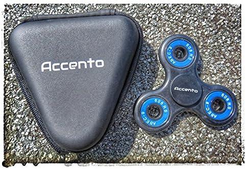 Accento Fidget Spinner Toy, Dreht Sich 4 Minuten Lang, Premium-Marke Mit Dreiecks Hülle, Anti-Stress-Spielzeug Für Kinder & Erwachsene (Schwarz & (Gutschein Amazone)