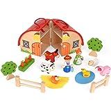 ewtshop® Fattoria, set da fattoria per bambini, in legno massiccio, dipinto