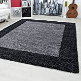 Designer rugs&carpets Non-Shedding Shaggy living room long pile carpets square 30 mm pile height 1503, Size:160x230 cm;Color:Anthracite