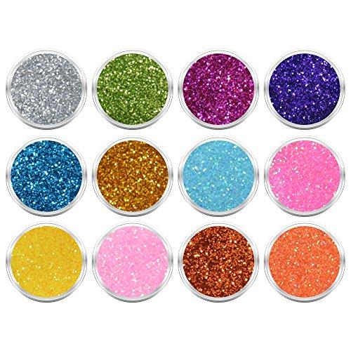 12 Döschen Nailart Glitzerpuder Glimmer Glitter Glitterstaub Box 1 in verschiedene irisierenden Farben