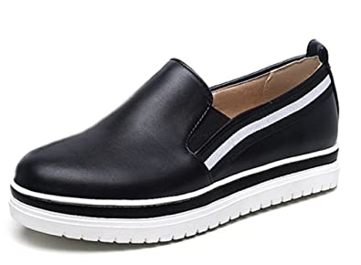 SHOWHOW Damen Neu Niedriger Absatz Durchgängiges Plateau Runde Zehen Sneakers Schwarz 37 EU A9fP5