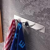 Handtuchhalter ohne bohren von Ruicer, Hakenleiste Kleiderhaken Selbstklebend Handtuchhaken für Bad und Küche 23cm Edelstahl Gebürstet 4 Haken