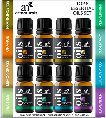 ArtNaturals Therapeutic-Grade Aromatherapy Essential Oil Gift Set - (8 x 10ml) - 100% Pure of the Highest Quality Oils - Peppermint, Tea Tree, Lavender, Eucalyptus