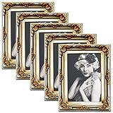 EUGAD 5er Set Bilderrahmen BR9749-5 Kunststoffrahmen, Glasscheibe, Antik Barock, Zum Aufstellen, Zum Aufhänger, (Gold/Silber, 10x15)