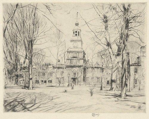 Das Museum Outlet-Unabhängigkeit Hall, Philadelphia, 1926, gespannte Leinwand Galerie verpackt. 29,7x 41,9cm