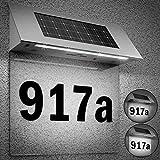 Solarhausnummer Edelstahl mit 4 starken LEDs beleuchtet transparent - LED