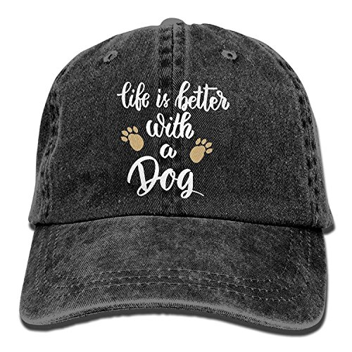 Life is Better with A Dog-1 Vintage Jeans Baseball Cap for Men and Women