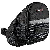 Ultrasport Satteltasche fürs Fahrrad, wasserdicht und kompakt / Fahrradsattelfach mit Stauraum für Fahrradtouren, einfache Befestigung per Klettverschluss, aufgenähter Reflektionsstreifen, schwarz