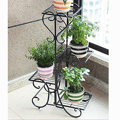 Portavasi fioriera in ferro nero bianco 4 piani in metallo con pianta in metallo (colore : nero)