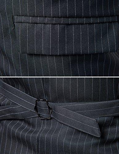 YCHENG Uomo Doppio Petto Striped Elegante Gilet Scollo Maglia Alla Moda Smanicato Corpetto Waistcoat Grigio