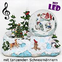 Bellissima scena di inverno con palla di vetro con neve, luci e suoni, circa 14,5 x 15 x 20 cm / Ø 10 cm