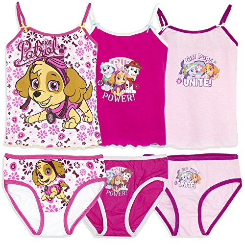 Official Paw Patrol Licensed Girls Underwear Set Bulk 6 PCS Pack 3 Briefs + 3 Cami Vest 2-8 yrs