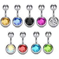Gadgetsden 316L Stainless Steel Navel Belly Button Piercing Bar Curved Barbell Body Silver Color Jewelry Ring Set for…