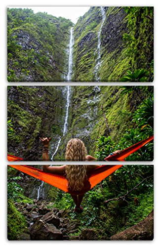 Printed Paintings Leinwand 3-teilig(80x120cm): Naturbilder Wasserfall Sexy Frau in Hängematte nat