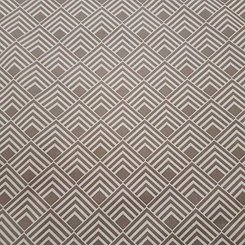 Stoff Meterware wasserdicht taupe weiß Winkel Linien Retro beschichtet Wachstuch