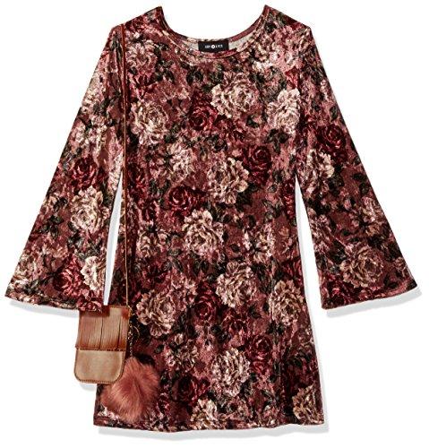 Ein Byer Kleider (Amy Byer Big Girls' Rose Print Velvet Dress With Fringe Purse Pom, Pat a, XL)