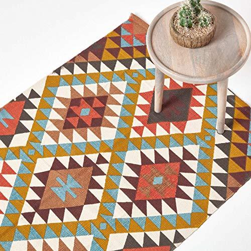 Homescapes Teppich Oslo, handgewebt aus 100% Baumwolle, 120 x 170 cm, Baumwollteppich mit Buntem geometrischem Rautenmuster
