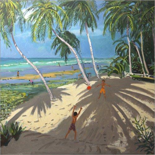 Acrylglasbild 70 x 70 cm: Palmen, Clovelly Beach, Barbados von Andrew Macara/Bridgeman Images -...