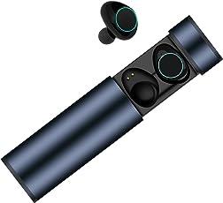 Auricolari Bluetooth, Cuffie Bluetooth Muzili TWS Leggeri Pettorali Hi-Fi Cuffie Cancellazione Rumore, Touch Screen Impermeabile a IP65, Earbuds con MIC per iPhone e Android con Scatola di Ricarica Portatile (Blue)