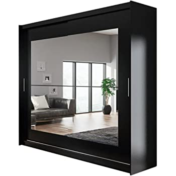 3f6a643a287 Ye Perfect Choice Modern WARDROBE Mirror Sliding Doors LED Lights Hanging  Rail Shelves AVA 12 CLOSET 250cm 8ft2   FAST DELIVERY (Black without LED  Lights