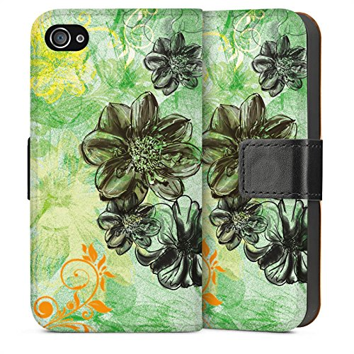 Apple iPhone 5s Housse Étui Protection Coque Fleurs Fleurs Ornements Sideflip Sac
