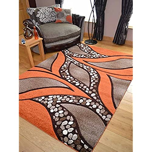 Super Verso Rust Orange Modern Hand Carved Dense Rug. Available In 6 Sizes  (160cm X 230cm)