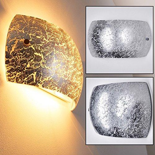 ... Wandspot Pilar   Wandleuchte Wohnzimmer Für Drinnen Aus Glas    Wandstrahler In Silber Mit E14  ...