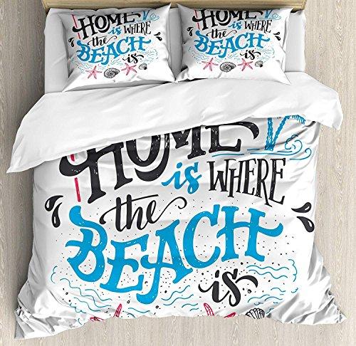 Bettbezug-Set aus Leichter Mikrofaser, mit Reißverschluss, Motiv Home is Where The Beach is Phrase, Bedruckt, Hot Pink, Azurblau und Anthrazit, Einzelbett, Polyester-Mischgewebe, Multi, Einzelbett (Vollständige Bettbezug)