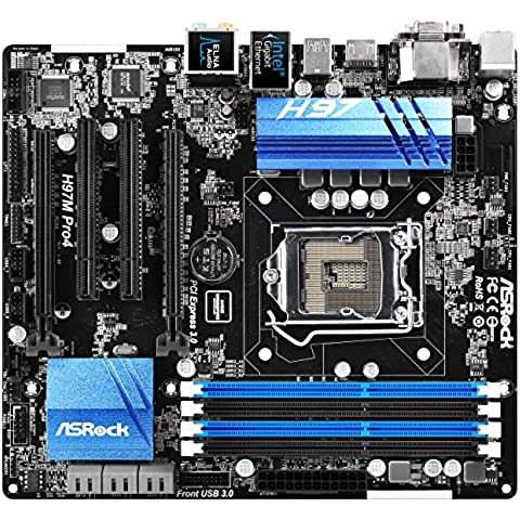 ASRock H97M Pro4 - Placa base Micro-ATX (Socket 1150 Intel H97, 6x SATA-600, 4x DDR3 hasta 32 GB, ATi Crossfire, Intel I218V 1 Gbps Ethernet, 12x USB, VGA, HDMI,