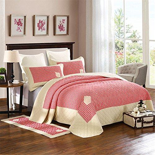 RFVBNM Dreiteilige bettdecke baumwolle einfachen stil rot gitter gewaschen quilt bettwäsche klimaanlage quilt 250 * 250 cm