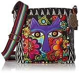 Laurel Burch Laurel Burch–Bolso Crossbody Bag, 13,5por 4por 25,4cm, flor Feline