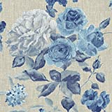 Leinenstoff | Die Zeitlose Rosen (Blau) - Blumenstoff -