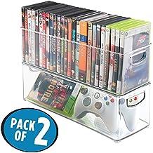 mDesign Juego de 2 cajas de almacenaje para CDs – Archivadores apilables para DVD, CDs o videojuegos – Porta CD para baño, oficina y cocina – Organizador transparente