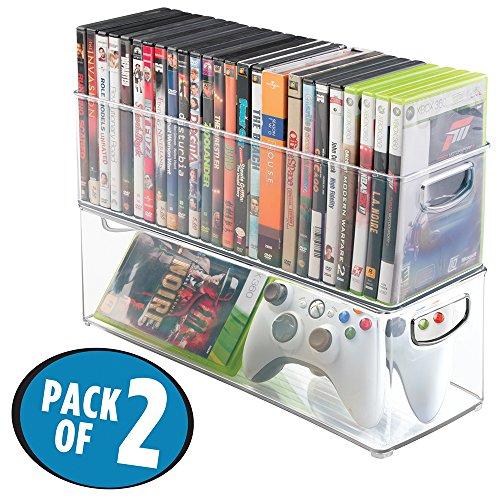 mDesign 2er-Set Aufbewahrungsboxen – Schubladen Organizer zum Verstauen von CDs, DVDs oder Schreibwaren – stapelbare Aufbewahrung für Büro, Bad und Küche – durchsichtig