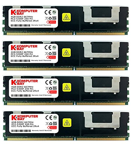 Komputerbay 16GB (4x4GB) DDR2 PC2-5300F 667MHz CL5 ECC Fully Buffered FB-DIMM (240 PIN) 16GB w / Wärmeverteilern
