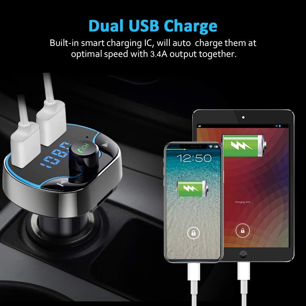 Trasmettitore Bluetooth per Auto Adattatori Vivavoce Car Kit VIDEN Trasmettitore FM Bluetooth Supporta Scheda TF FM Transmitter Bluetooth con Duale Porte USB