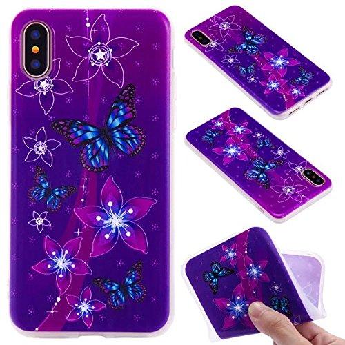 Ooboom® iPhone 5SE Hülle TPU Silikon Matt Prägen Weich Handy Tasche Case Cover Flexibel Bumper Ultra Dünn Slim für iPhone 5SE - Mädchen Schmetterling Lila