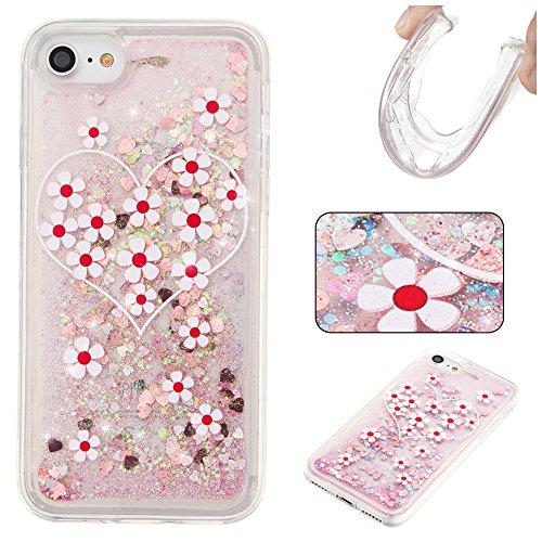 """MOONCASE iPhone 7 Coque, Glitter Sparkle Bling Liquide Transparent Étui Coque pour iPhone 7 4.7"""" Soft TPU Gel Souple Case Housse de Protection Or Love flower"""