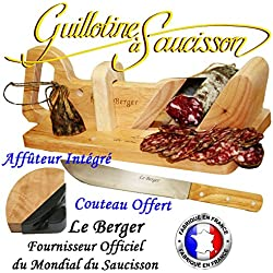 Guillotine, Trancheuse à Saucisson Traditionnelle Le Berger AFFUTEUR INTEGRE & SECURTITE PROTEGE DOIGT OFFERT & Couteau de Cuisine Offert Garantie 3 ans