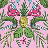 Pinker Michael Miller Stoff Blume Blatt Ananas Flamingo