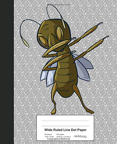 Wide Ruled Line Dot Paper: Dabbing Grasshopper Book Entomology (Weezag Wide Ruled Dot Paper Notebook, Band 64) -